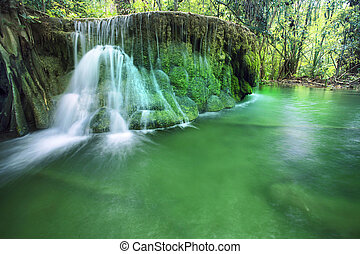 lime stone water fall in arawan water fall national park...
