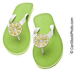 Lime Themed Flip Flops Summertime Footwear. Isolated on...