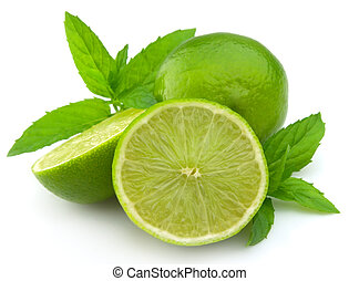lime with a mint branch