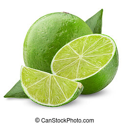 Lime with half and leaves isolated on white background. ...