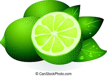 Lime with half and leaves