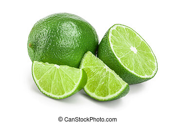 lime with half isolated on white background
