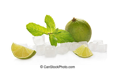 Lime with mint and ice cubes
