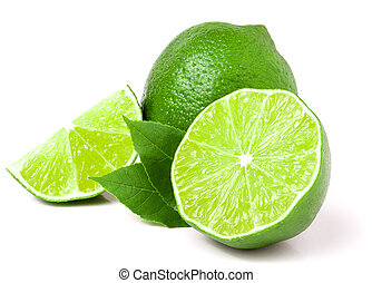 lime with slices and leaf isolated on white background