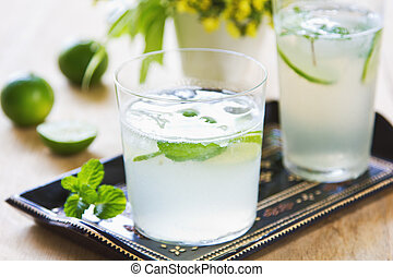 Lime with soda juice - Lime with mint and soda juice