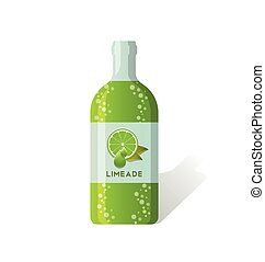 Limeade bottle with fresh juicy lime depicted on label