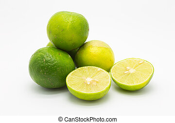 Limes and slice on white