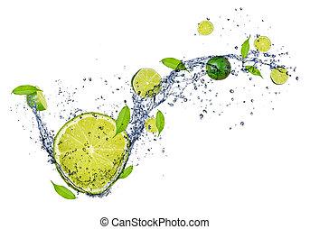 limes, elszigetelt, víz, loccsanás, háttér, friss, fehér