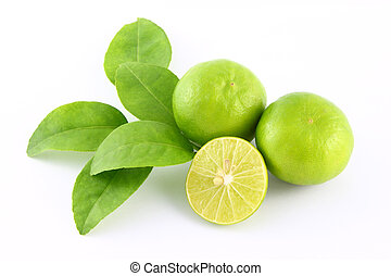 Limes fruit and leaf on white background.