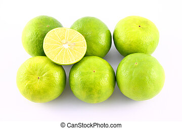 Limes fruit on white background.