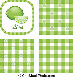 Limes & Gingham Seamless Patterns - Gingham check seamless...