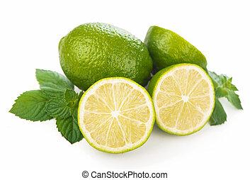 Limes, mint leaves