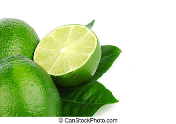 limes on white - limes pile isolated on white