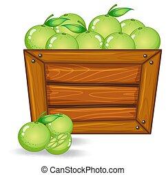 Limes on wooden board