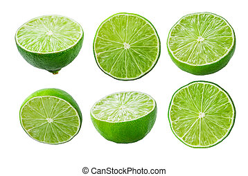 Limes slices on white background - Collection of limes ...