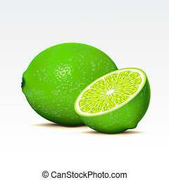 Limes - Two limes on a white background