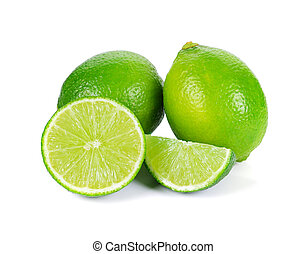 Limes with slices isolated on white background.