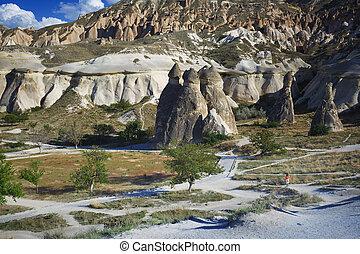 Limestone and tuff rock formations in Cappadocia, Turkey
