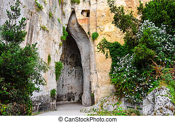 Limestone cave called Ear of Dionysius on Sicily - Limeston...