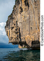 limestone cliffs stand on the sea