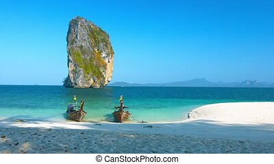 Limestone Formation and Longtail Boats at a  Beach in Thailand. Video