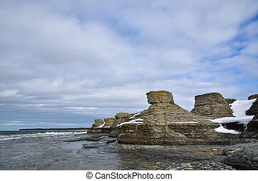 Limestone formations at Byrum on the swedish island Öland in...