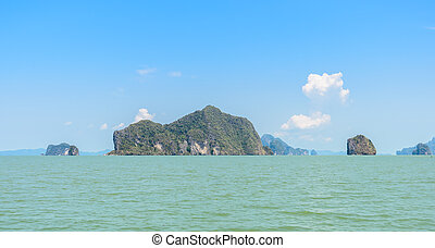 Limestone island in Phang Nga Bay National Park, Thailand -...