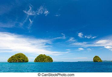 Limestone islands in Palau - Scenic lagoon of Palau is...