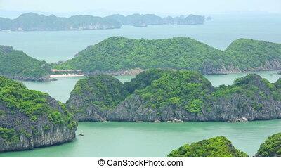 limestone mountain islands, Halong Bay, Vietnam