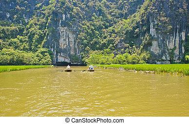 Limestone mountains at Tam Coc in Ninh Binh, Vietnam