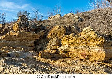 limestone on the hills near the sea