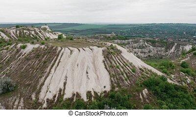 Aerial view to limestone Quarry near Fetesti village in Moldova, Eastern Europe