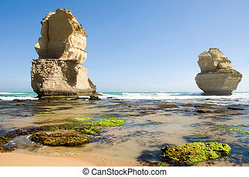 Limestone Stacks - Two of the Twelve Apostles - a series of...