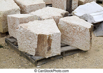 limestone - roughly cut limestone at a construction site