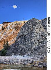 Limestone travertine deposits at mammoth Hot Springs