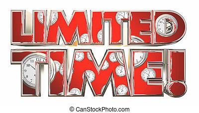 limité, temps, spécial, vente, offre, clocks, 3d, illustration