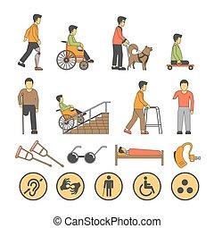 limitado, ícones, pessoas, incapacidade, oportunidades,...