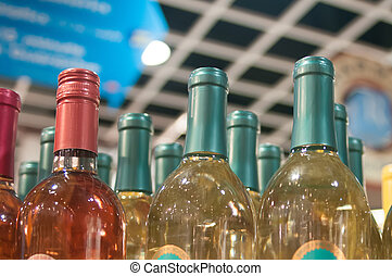 limitado, garrafas, licor, campo, profundidade, tiro, exposição, loja, vinho