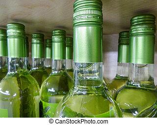 limitado, garrafas, madeira, profundidade, empilhado, prateleiras, tiro, vinho