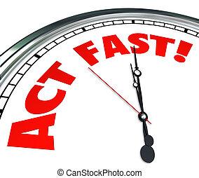 limitado, oferta, requerido, acto, tiempo, acción, ahora, reloj, urgencia