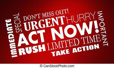 limitado, palabras, oferta, ahora, tiempo, apuro, ...