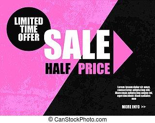 limitado, publicidad, mitad, venta, bandera, oferta, fondo., negro, tiempo, color., rosa, circle., precio, diagonal, viernes