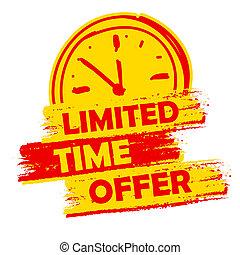 limitado, reloj, señal, oferta, amarillo, etiqueta, tiempo, ...