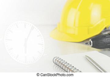 limitation, concept, horloge, mur, temps construction, outils