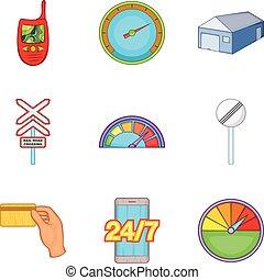 Limitation icons set, cartoon style - Limitation icons set....