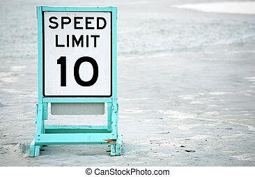 limite, plage, vitesse, signalé