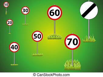 limite, sélection, vert, 62-speed