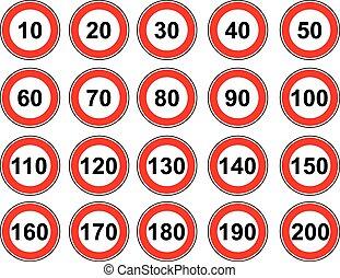 limite, set, vettore, segno velocità