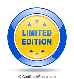 limited edition blue and yellow web glossy round icon