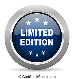 limited edition blue circle glossy web icon on white background, round button for internet and mobile app